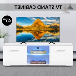 High Gloss White TV Stand Unit Cabinet w/ 2 Drawers Entertai