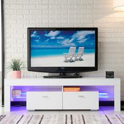 High Gloss White TV Stand Unit Cabinet with w/LED Shelves 2