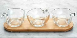 Home Essentials Apple Glass Bowls On Bamboo Tray