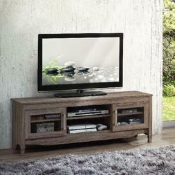 """Techni Mobili 53"""" Driftwood TV Stand for TVs up to 65"""", Grey"""