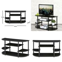 Jaya 42 In. Espresso Particle Board Tv Stand Steel Frame Pvc