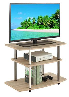 Convenience 3-Tier TV Stand, Weathered White