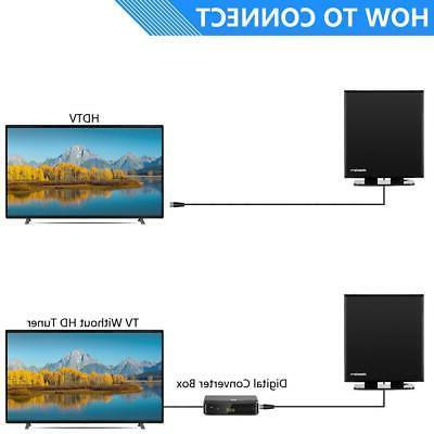 150Mile Indoor Amplified TV Antenna HDTV 4K VHF/UHF Base