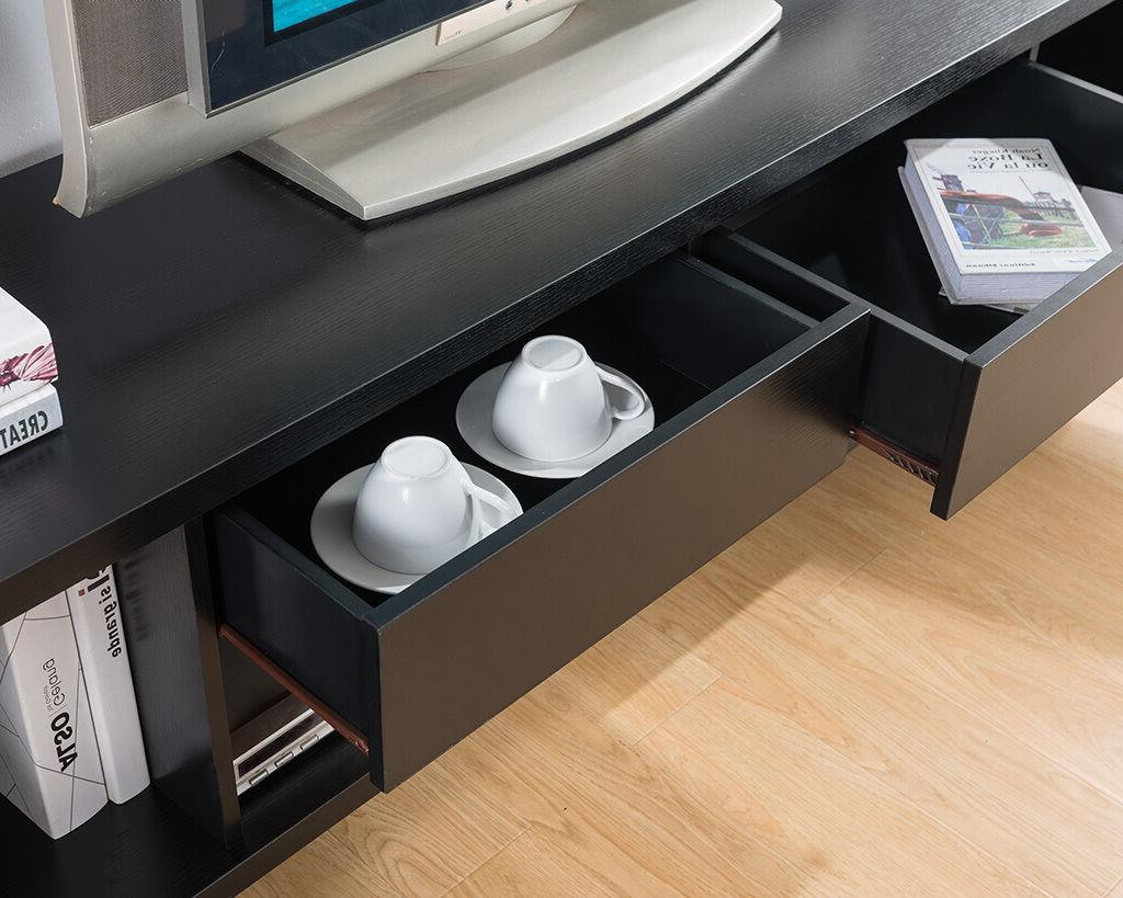 "151365 74"" TV Stand Modern Alexa Dark White Entertainment Console"