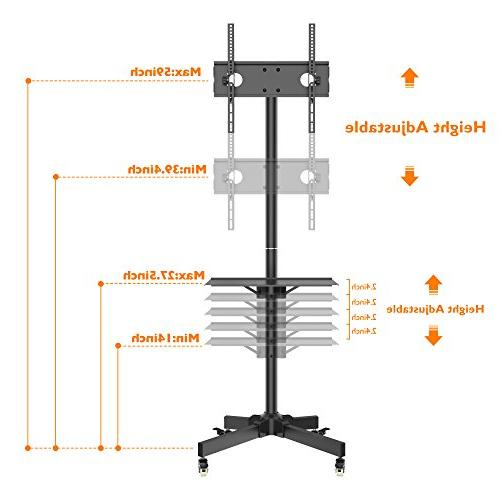 """1homefurnit Mobile TV Floor Display for 23""""-55"""" Plasma/LCD/LED with Wheels"""