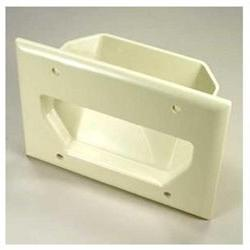 3-Gang Recessed Low Voltage Cable Plate White