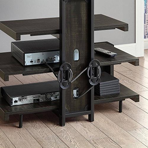 Whalen 3 TV Stand with for TV's Weathered dark pine