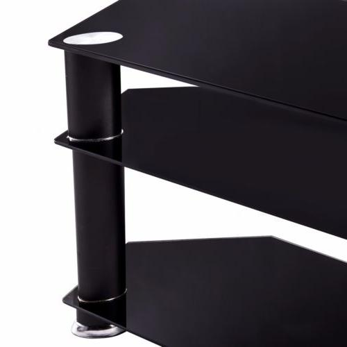 """32""""-55"""" Glass Stand Console Media Bracket LCD TV"""