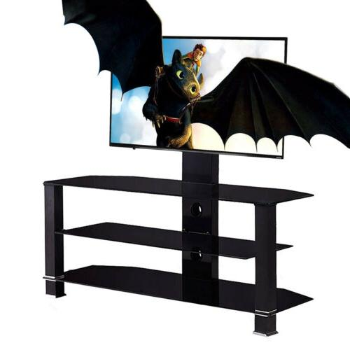 """32""""-55"""" Glass Black Cantilever Tempered TV Stand with Bracke"""