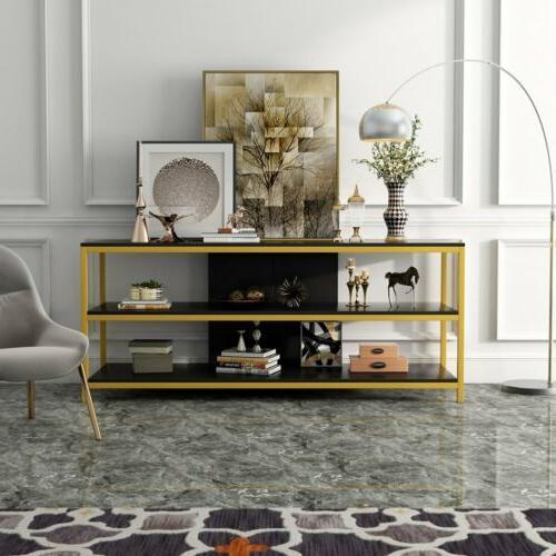 Modern TV Stand 3 Tier Storage Shelves Simple Rectangle Entr