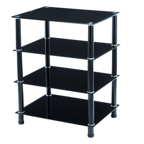 Black TV Mount Stand Shelves Storage Console Table Glass Med