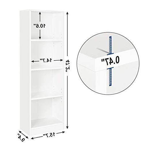 "SONGMICS Bookshelf Adjustable, File Organizer Shelves,Cube Unit,15.7""L 9.4""W 47.2""H, ULBC14WT"