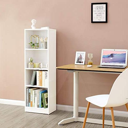 SONGMICS 4-Shelf Wooden Bookshelf Adjustable, Shelves,Cube ULBC14WT