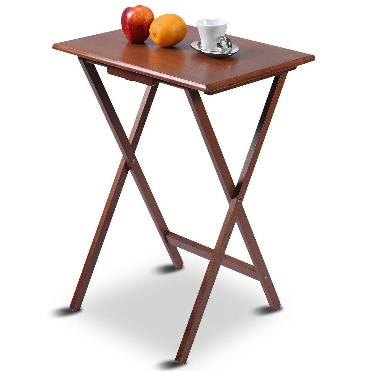 4 Piece Folding Tray Table Set Wood Dinner of Walnut