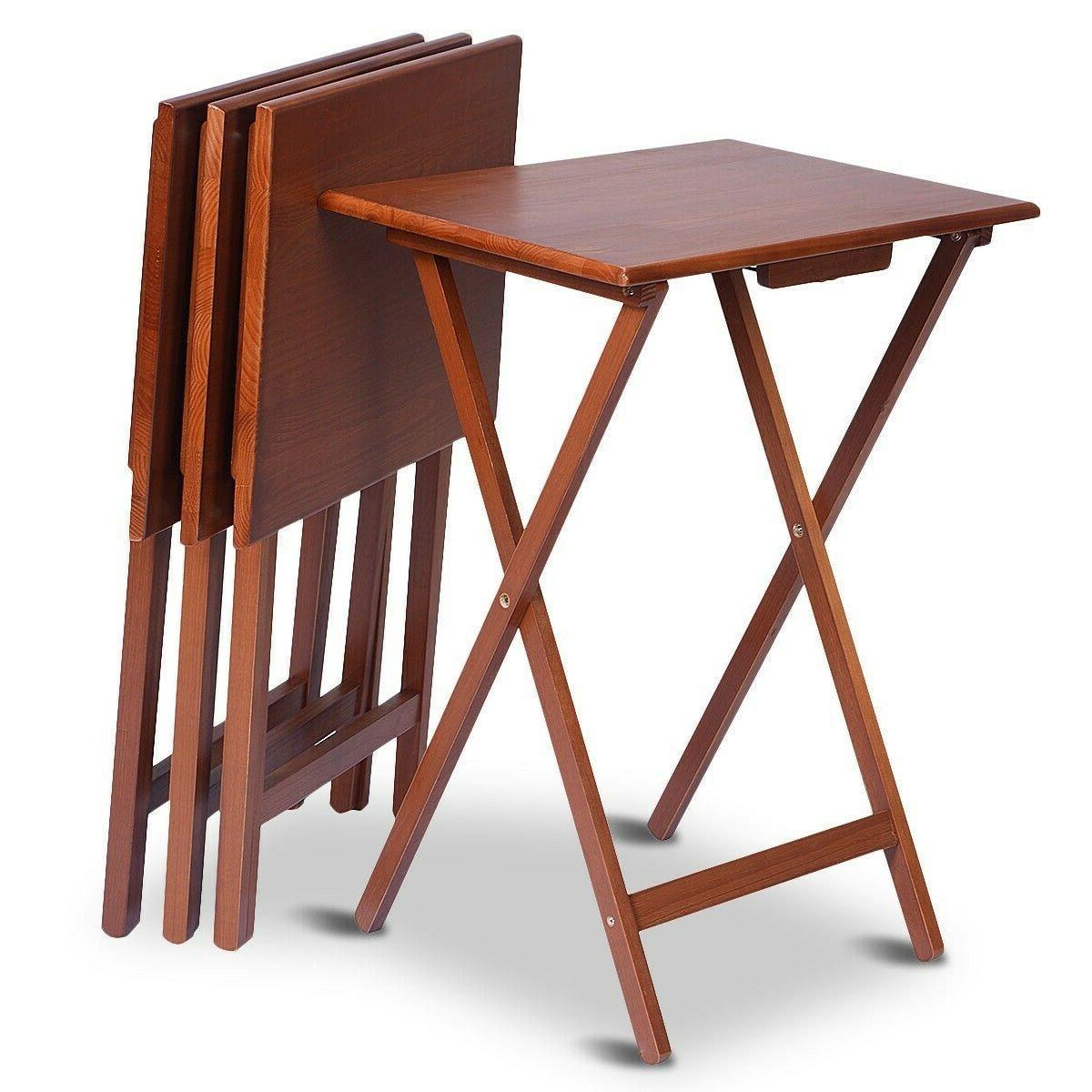 4 piece folding tv tray table set