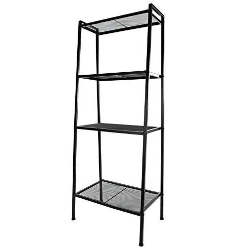 Space 4 Ladder Shelf Multifunctional Plant Rack Bookshelf Black