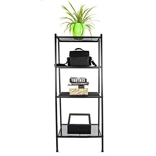 Space Ladder Shelf Plant Flower Display Stand Rack Bookcase Black