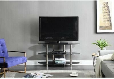 43 in. Wide Glass TV Stand For TVs up to 55 in. With 3 Shelv