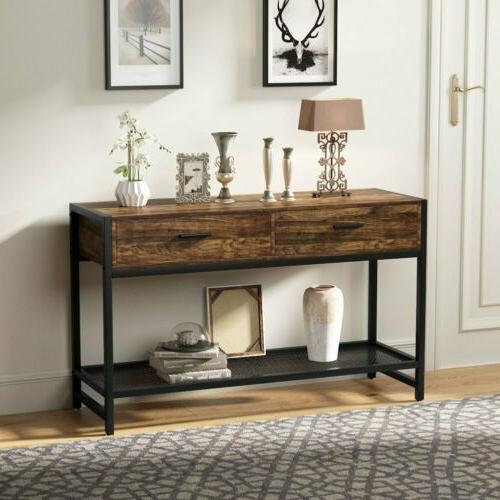47''L Rustic Sofa Entry Table TV Stand Entertainment Center