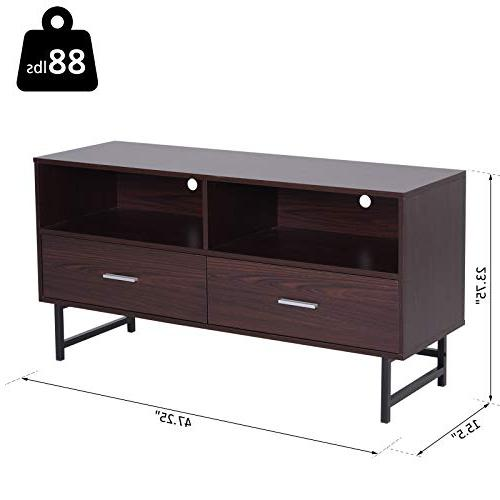 "HOMCOM 47"" Modern TV Stand with Storage Coffee/Black"
