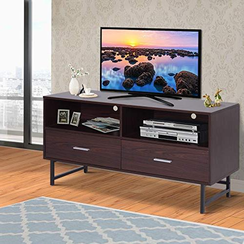 Modern TV Stand with Dark Coffee/Black