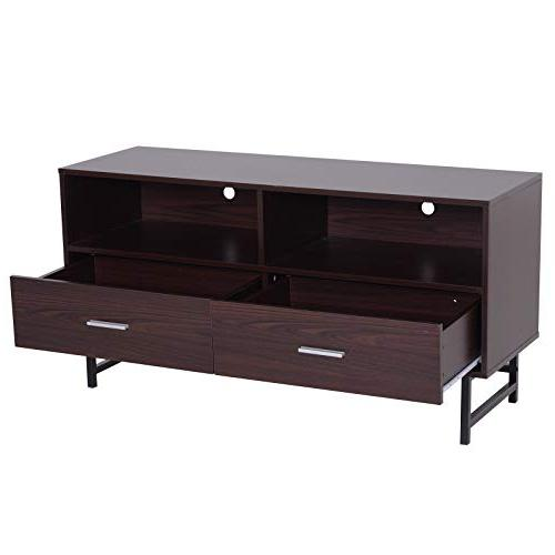 "HOMCOM 47"" Wood Grain Modern TV Cabinet with Storage - Coffee/Black"