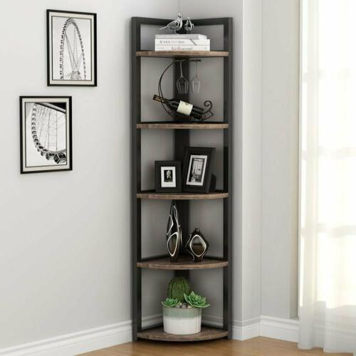 5 Tier Brown Corner Shelf Multifunctional Bookcase Rack Wall