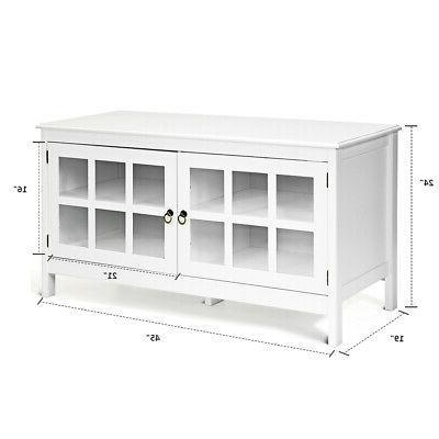 "50"" Modern TV Stand Console Entertainment Center Storage Cabinet Doors"