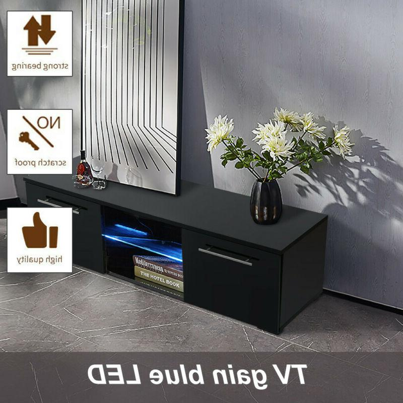 High Gloss TV Stand Unit Cabinet with LED Light Shelves Livi