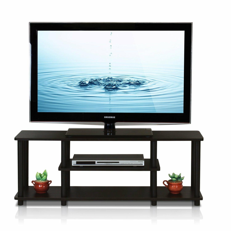 "55"" TV Stand Shelves Drawer Wood Black"
