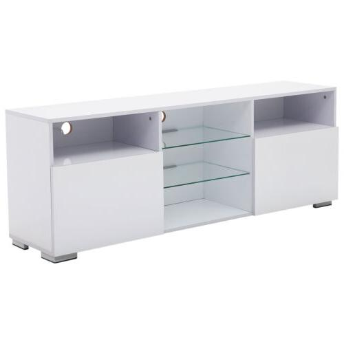 """58"""" High Gloss White LED Cabinets 2 Doors 2"""