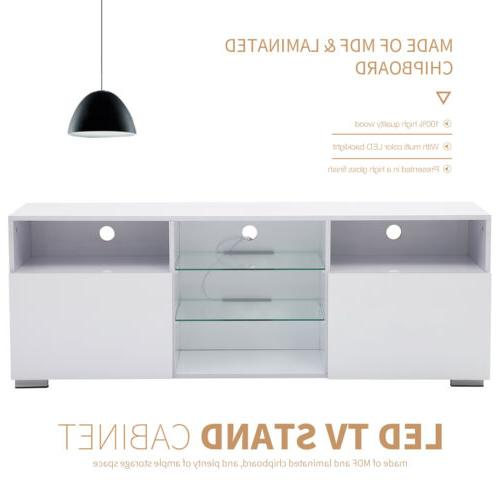 """58"""" High Gloss LED Stand Cabinets Console 2 Doors"""