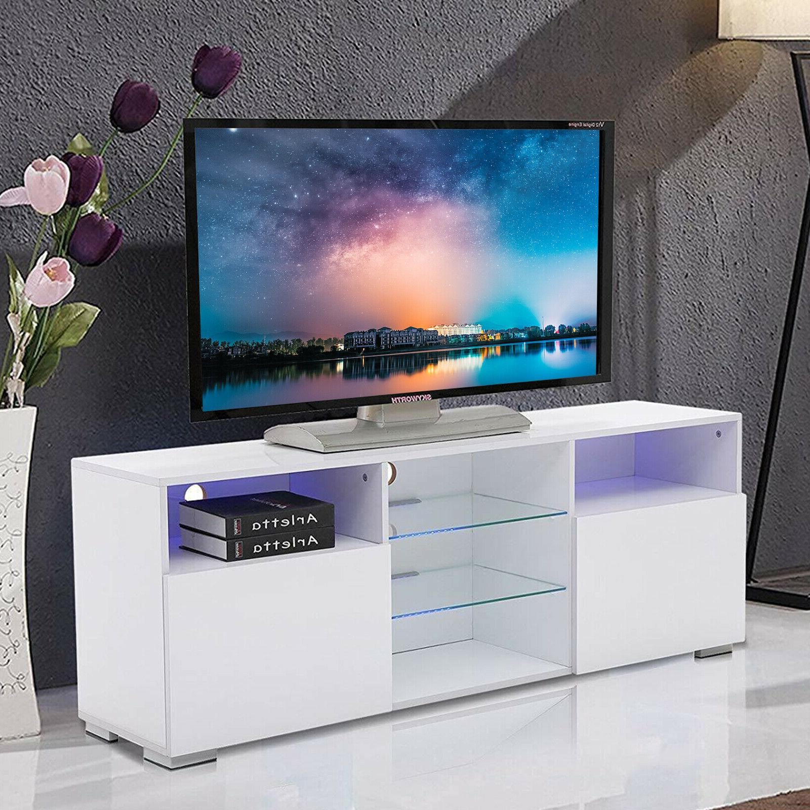 """58"""" High Gloss White LED TV Stand Unit Cabinets Console with"""