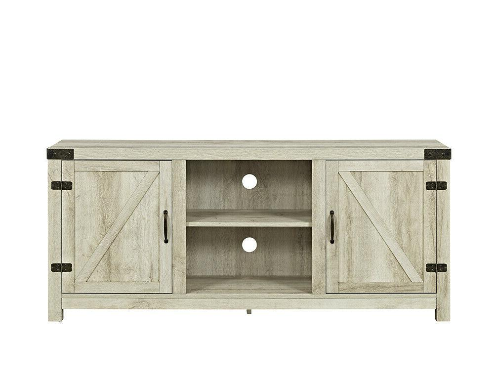 """58"""" Barn Door TV Stand with Side Doors for TVs up to 65"""", Wh"""