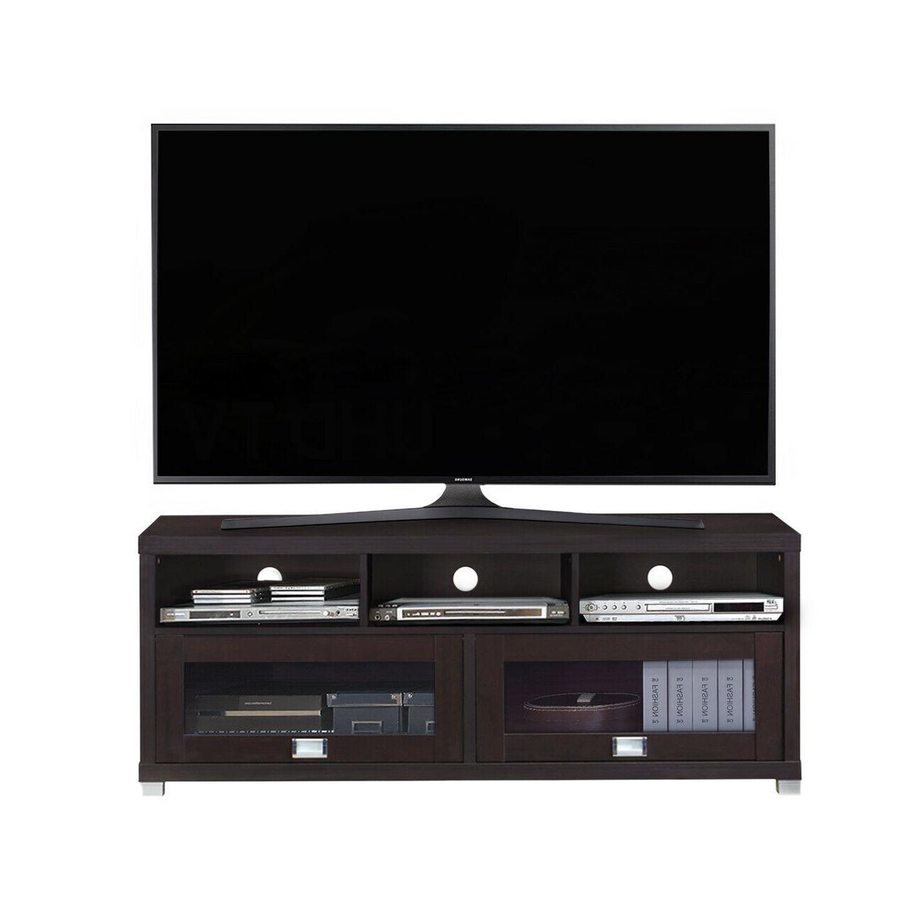 """Techni Inches Durbin TV 75"""" Espresso With Glass"""