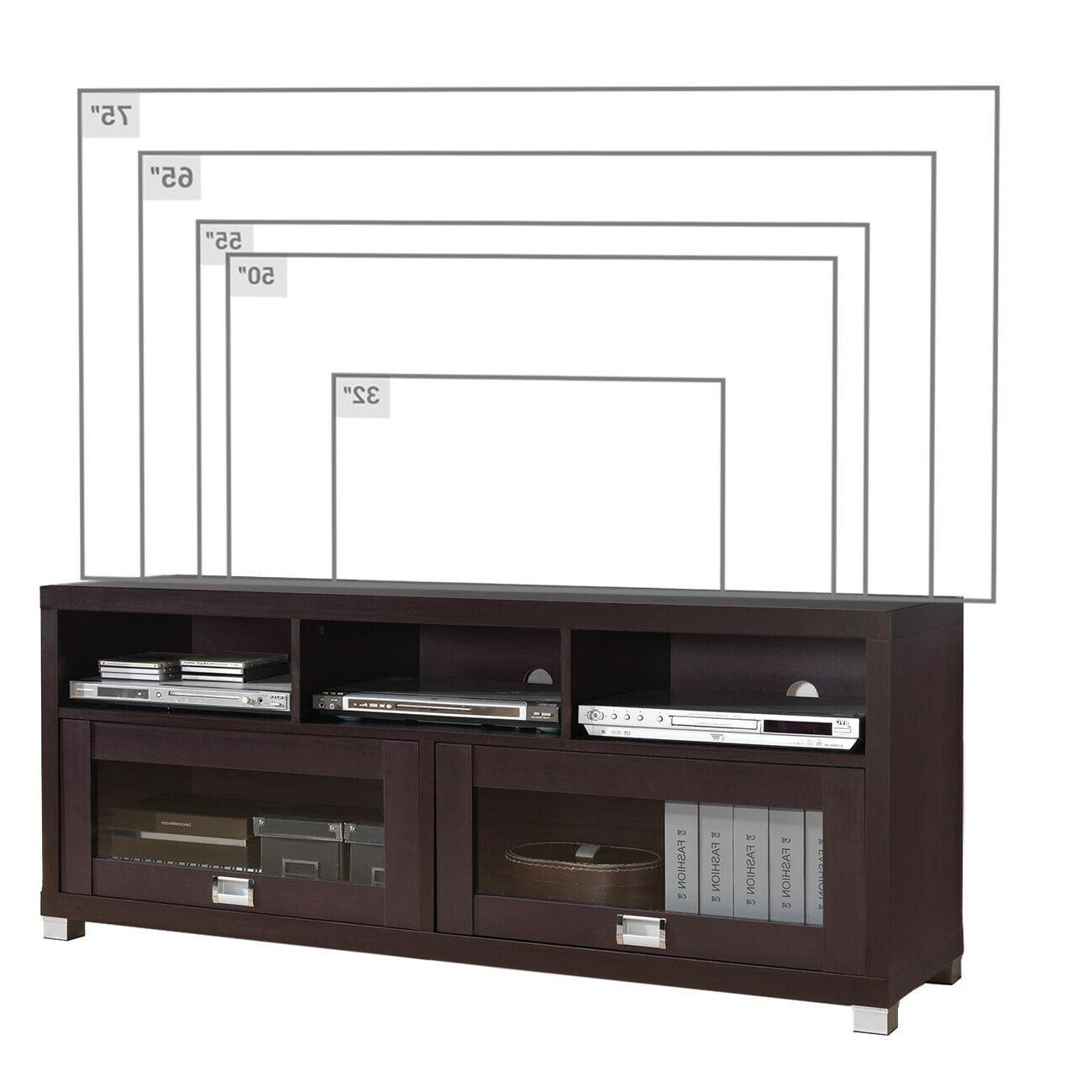 """Techni 58 Inches Durbin TV For 75"""" Espresso 2 Glass Door"""