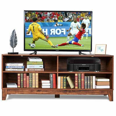 "58"" Modern Wood TV Stand Console Storage Entertainment Media"