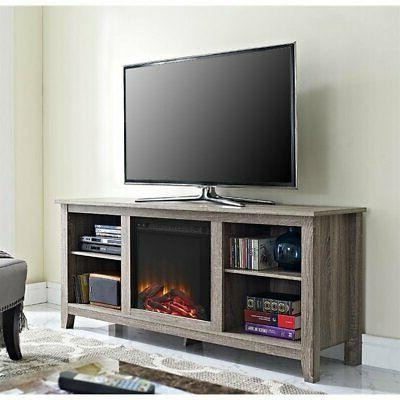 58 rustic fireplace tv stand in driftwood