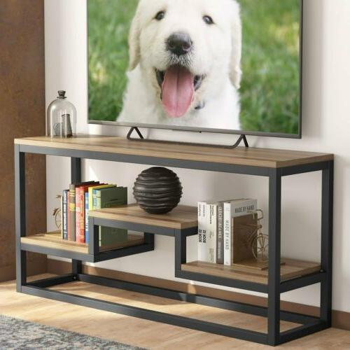 3-Tier TV Stand Industrial Rustic Console Table with Shelves