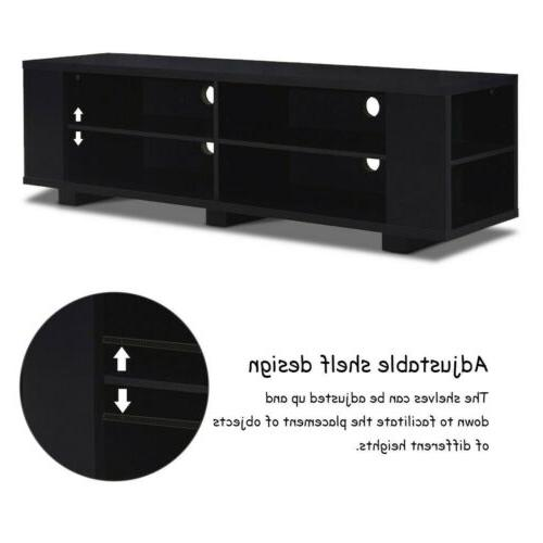 """59"""" L Stand Console Entertainment Wood Storage"""