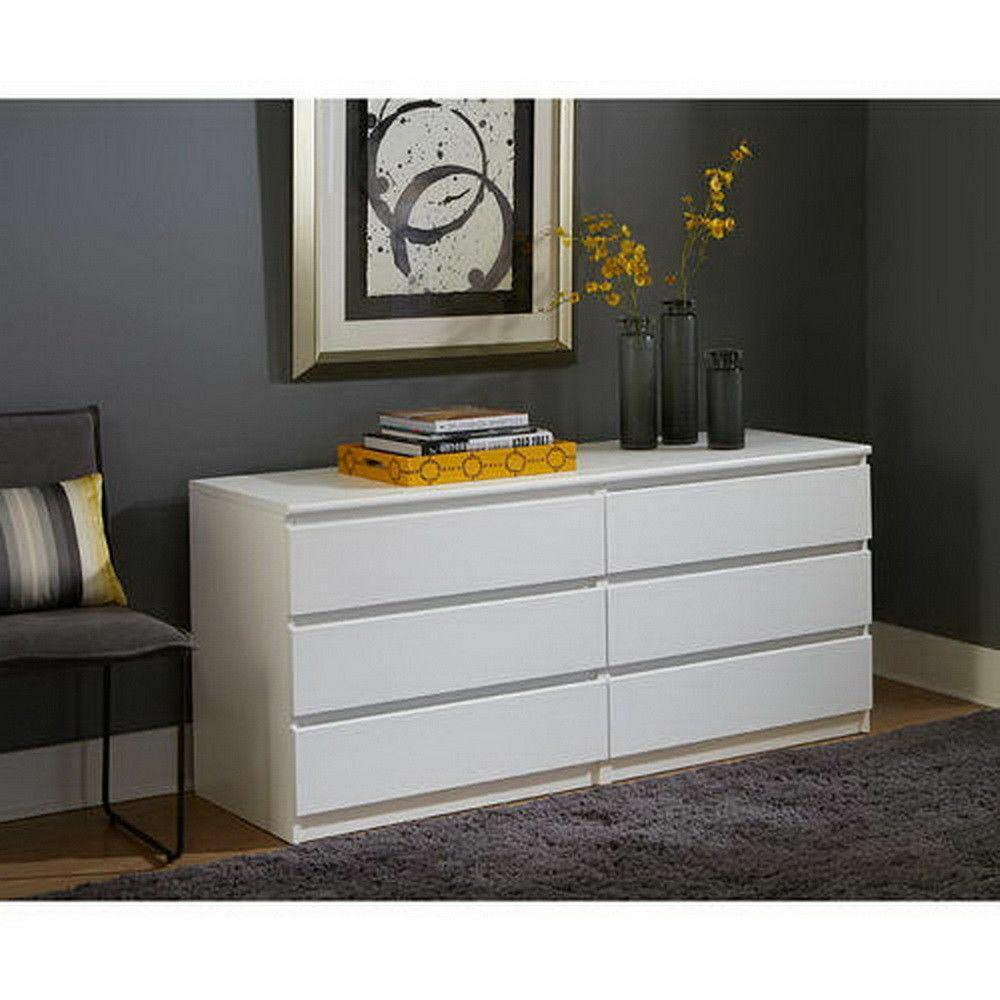 6 Drawer Dresser Bedroom Furniture Storage Wood Double Chest