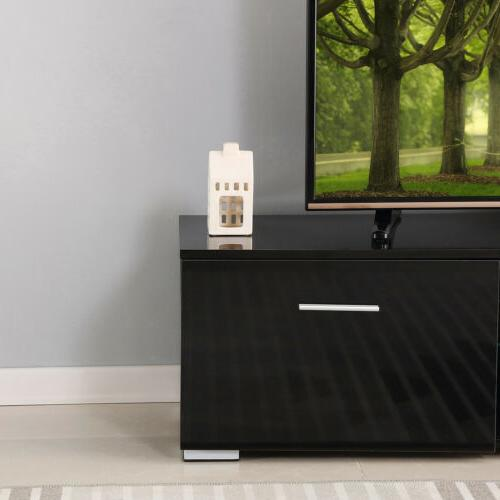 Large Black TV Stand Unit High W/2 63''