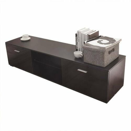 High Gloss Shelves Cabinet 2 Console USA