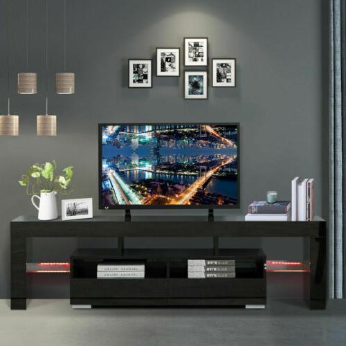 "Modern White 63"" TV Stand Unit Cabinet w/ LED Light 2 Drawer"
