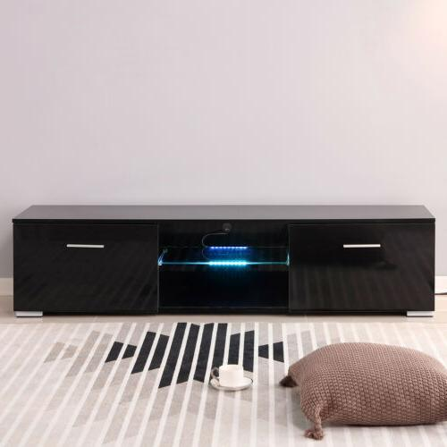 63'' High Black TV Stand Units Cabinet LED Light W/2 Drawers