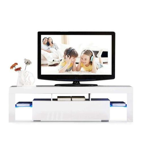 White TV Stand Unit Cabinet w/LED Shelves 2 Drawers Console
