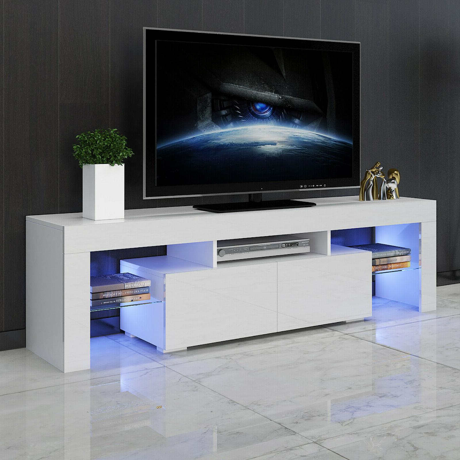 "63"" White High Gloss TV Stand Unit Entertainment Center LED"