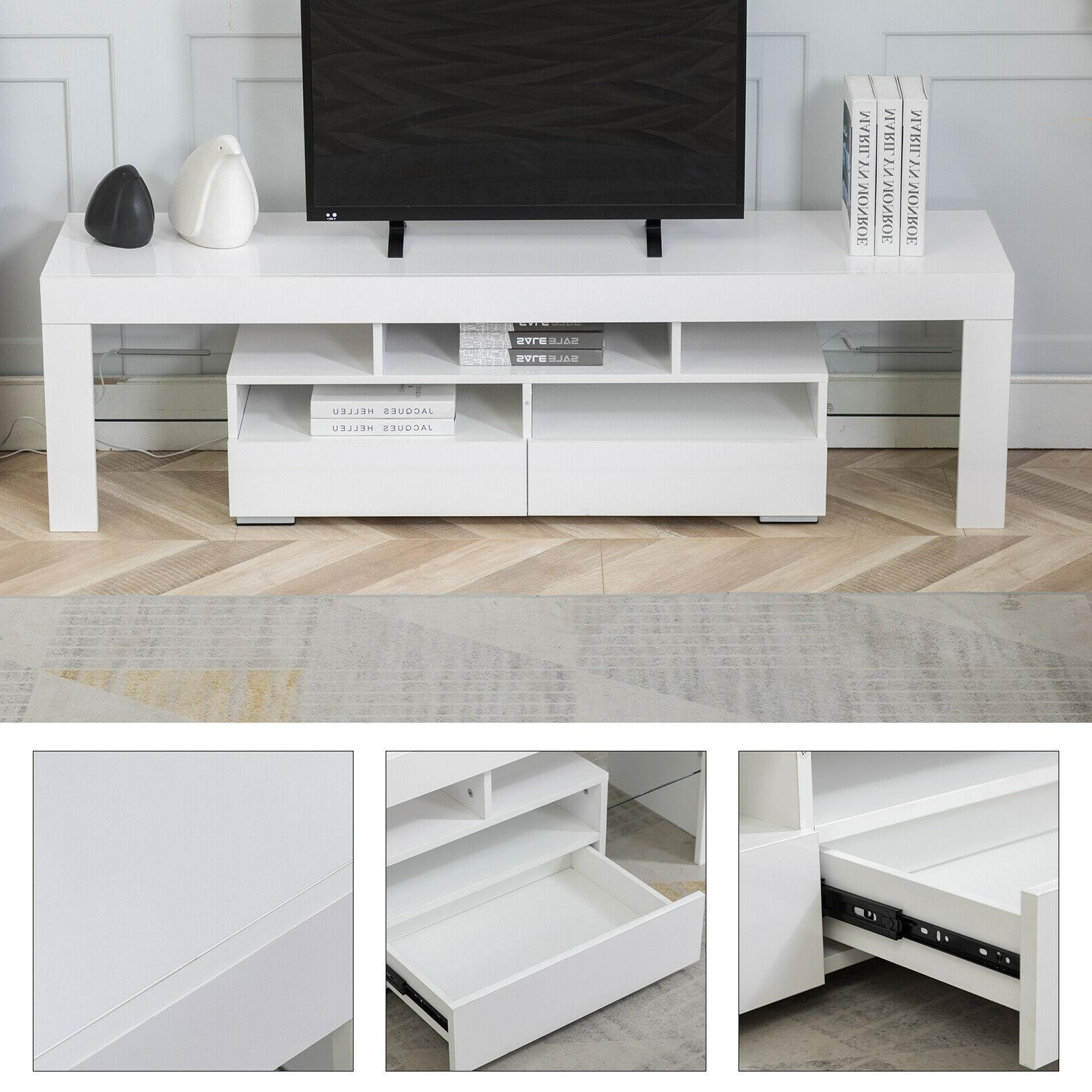Cabinet Modern w/LED 2 Console Storage Furniture