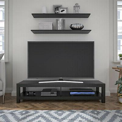 65 Inch Wood TV Stand Unit Open Shelf Entertainment Center L