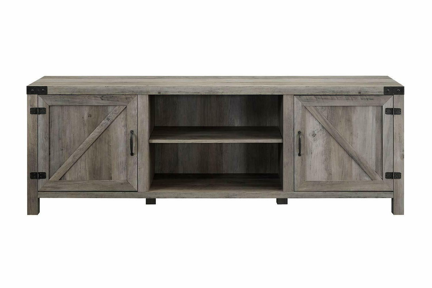 "Walker Company 70"" Farmhouse Door TV Stand Wash New"